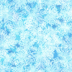 Christmas Seamless Background, Blue Sky with Abstract Floral Frosty Patterns and Sparks on Blue, Tile Holiday Design. Eps10, Contains Transparencies. Vector