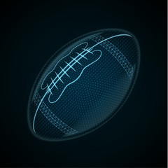 Vector image of a American Football ball made of glowing lines, points and polygons