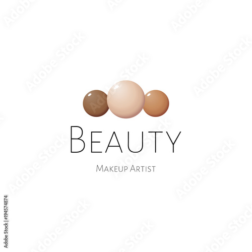 Beauty Logo Template With Color Drop Of Foundation Cosmetic Liquid Cream Smudge Smear Strokes
