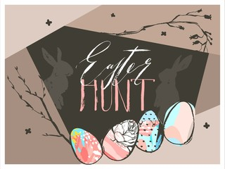 Hand drawn vector abstract graphic scandinavian collage Happy Easter cute simple bunny silhouette,eggs illustrations greeting card and Easter hunt handwritten calligraphy isolated on brown background