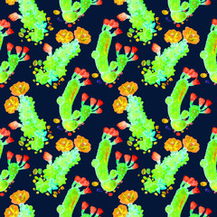 Cactus with red and yellow flowers, seamless pattern design in bright neon colors, hand painted watercolor illustration, dark blue background