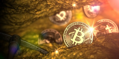 Golden bitcoin mining in deep golden cave with Pickaxe and some coin. 3d illustration.