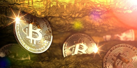 Golden bitcoin mining in deep golden cave with some coins. 3d illustration.
