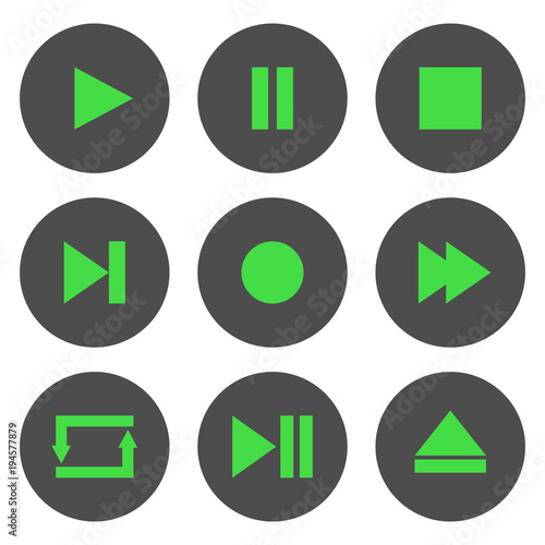 Media player control buttons set  Play, pause, stop, record