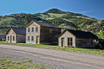 Buildings in Bannack, Montana a restored abandoned mining town