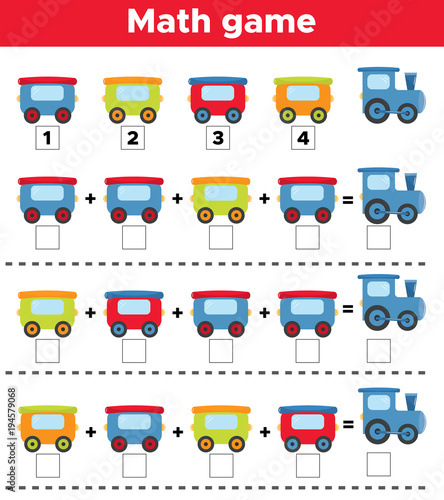 Mathematics educational game for children. Cute cartoon train. Tasks ...