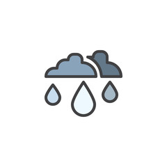 Rain drop and clouds filled outline icon, line vector sign, linear colorful pictogram isolated on white. Rainy cloud symbol, logo illustration. Pixel perfect vector graphics