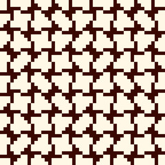 Repeated creative puzzle mosaic. Geometric seamless pattern design. Pixel art surface texture. Contemporary camouflage