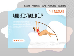Pole vaulting. Athletics competitions. Vector illutration in abstract flat style, design template of sport site header, banner