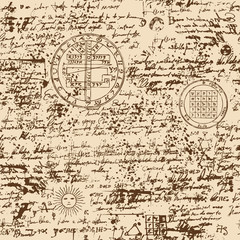 Vector texture, seamless background on the theme of old manuscript with occult lyrics and symbols. Medieval papyrus with blots and spots in retro style