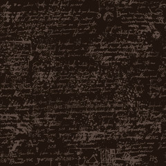Vector texture, seamless background with handwritten text and scribbles, medieval papyrus or manuscript with blots and spots in retro style