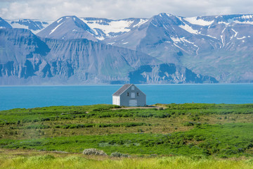 Landscape of iceland and the blue house