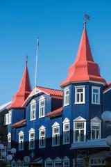 Blue house in Akureyri in Iceland
