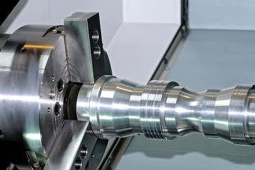 Metal detail in a spindle of the industrial lathe