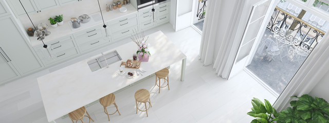top view modern nordic kitchen in loft apartment. 3D rendering Wall mural