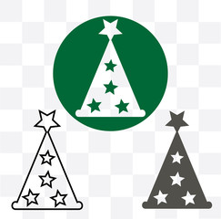 Christmas tree icon, decorated conifer outline and filled vector sign, linear and full pictogram isolated on white, logo illustration