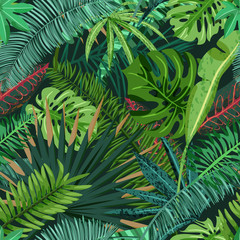 Vector seamless pattern with green tropical palm, monstera leaves. Nature background. Summer or spring trendy design elements for fashion textile prints and greeting cards.