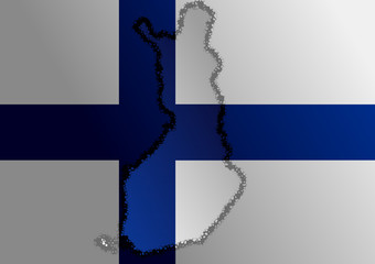 Finnish flag with a contour of border