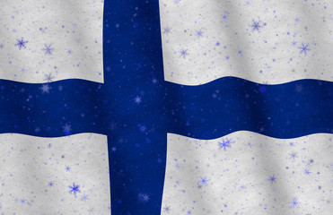 Illustration of a flying Finnish flag with snowflakes scattered around