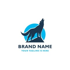 HOWLING FOX SYMBOL VECTOR ICON LOGO TEMPLATE
