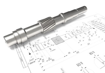 drawing of machine parts. Design documentation. Drawings and metal parts. Shaft, pinion, bushing and paper drawings. 3D rendering.