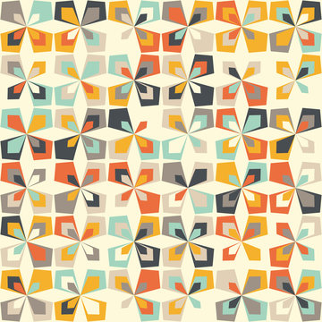 Midcentury geometric retro background. Vintage brown, orange and teal colors. Seamless floral mod pattern, vector illustration. Abstract retro geometric midcentury 60s 70s background. Retro wallpaper.