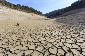 Empty lake at Bimont Dam near Aix en Provence, France.