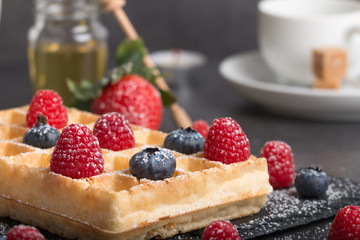 Brussels waffles with fresh fruit