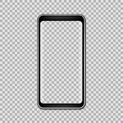 Black phone mock up with blank screen isolated on transparent background. Vector illustration.