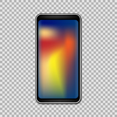 Smartphone with full gradient touchscreen isolated on transparent background. Vector illustration.