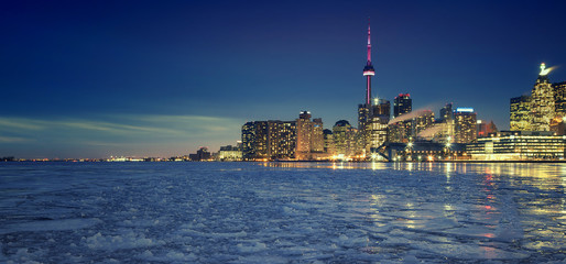 Wall Murals Toronto Toronto's Winter skyline, the view from Cherry Street, Toronto, Ontario, Canada.