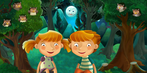 cartoon scene with boy and girl resting in the forest - brother and sister - illustration for children