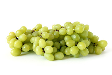 Fresh green grapes isolated on white background, bunch of grapes. Vegetarian Concept, Organic Vitamins. Organic and Benefit Fruit.