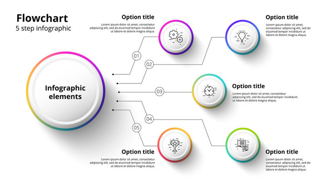 Business process chart infographics with 5 step segments. Circular corporate timeline infograph elements. Company presentation slide template. Modern vector info graphic layout design.