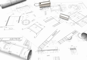 drawing of machine parts. Design documentation. Drawings and metal parts. Shaft, pinion, bushing and paper drawings. 3D rendering. project