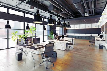 modern cozy loft office Wall mural