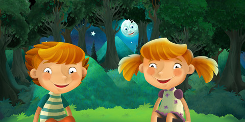 cartoon scene with happy and funny kids resting in the forest during night - illustration for children