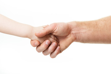 Hands, deal time. Father's and his son's hands. Dad and kid hands over white. Male and children hands closep, isolated on white background.