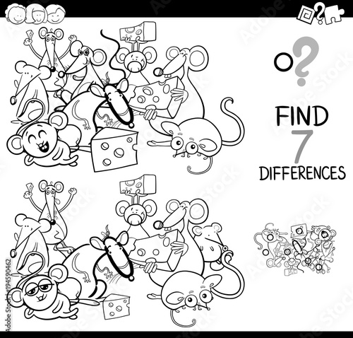 differences game with mice characters color book stock image and