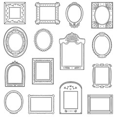 Vector black and white set of frames. Hand drawn cartoon photo frames