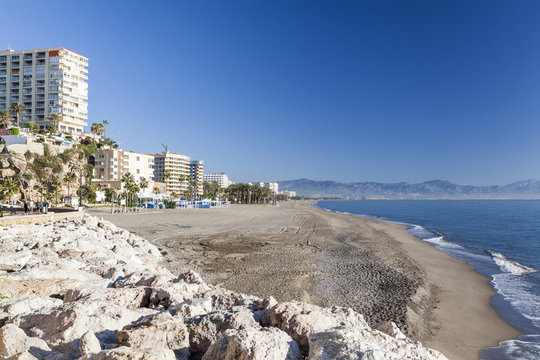 Mediterranean beach view in Torremolinos,Spain.