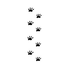 Prints black paws of the walking animal. Traces of the beast on a white background isolated.