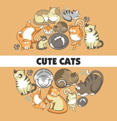 Cute cats vector poster of kittens pets playing or posing and funny looking