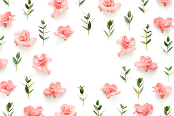 Frame With Soft Pink Azalea Flowers And Green Leaves On White Background