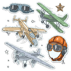 colorful sticker, set retro old aircraft, pilot helmet