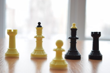 Chess pieces on the table.