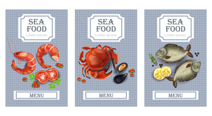 Sea food cards Vector realistic. Layout Template with crabs, fish, shrimps and caviars