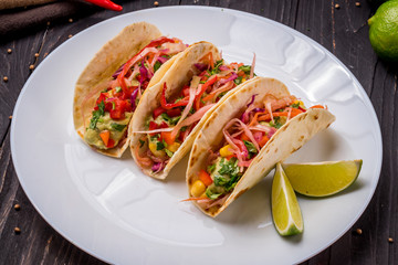 Mexican tacos with vegetables vegetarian
