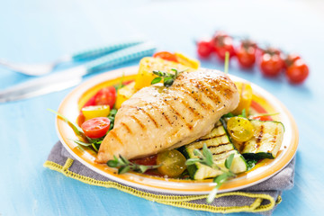Grilled chicken breast with vegetables and polenta
