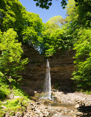 Hardraw Force waterfall near Hawes Wensleydale in the Yorkshire Dales popular tourist attraction